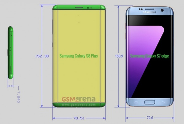 Leaked schematics reveal bigger screens for the Galaxy S8 and S8 Plus